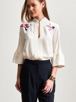 仙鹤刺绣丝绸衬衫