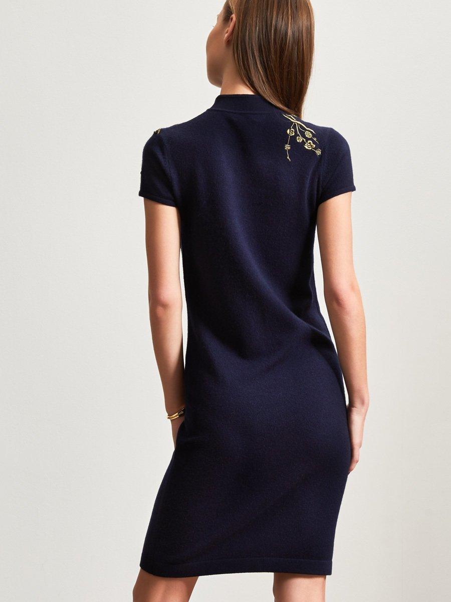 Cashmere-Silk 3D Crane Embroidery Dress