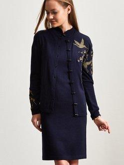 羊绒丝绸3D仙鹤刺绣开衫