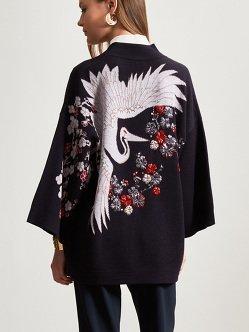 仙鹤提花串珠羊毛开衫