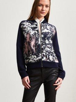 羊绒丝绸编织拼接拉链开衫
