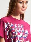 Cotton Print Embroidery Crane T-Shirt
