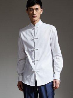 盘扣棉质衬衫