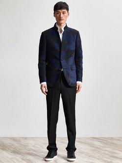 仙鹤锦缎西装夹克