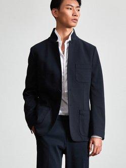 棉质针织西装夹克