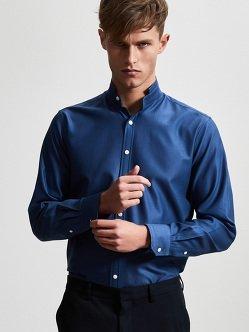 棉质珠地布同料尖领衬衫