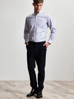 白色尖领迷你条纹棉质衬衫