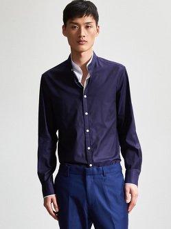 弹力棉质双层领衬衫