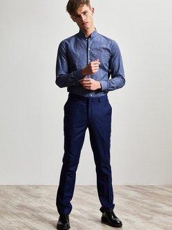 纯正中式立领棉质印花衬衫