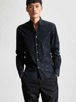 银色祥云棉质中式立领衬衫