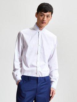 棉质撞色尖领衬衫