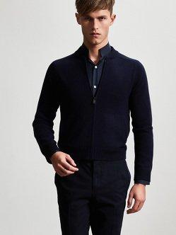 龙纹刺绣羊绒丝绸开衫