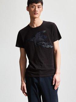 仙鹤拼接棉质T恤